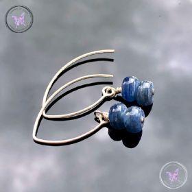 Blue Kyanite Rondelle Silver Angled Earrings